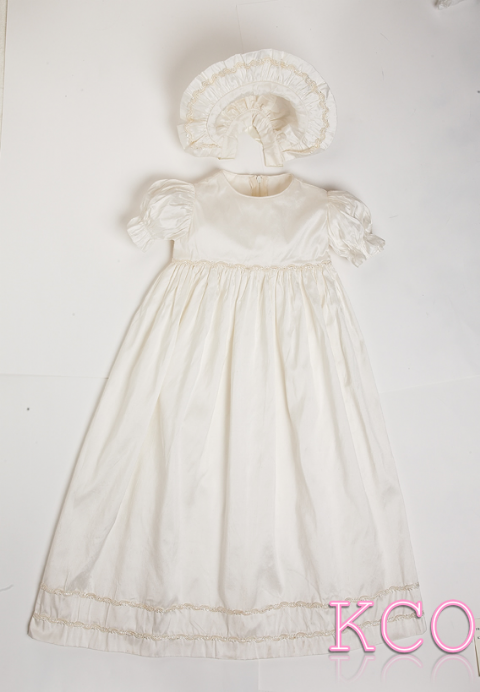 Silk Christening Gown Ivory